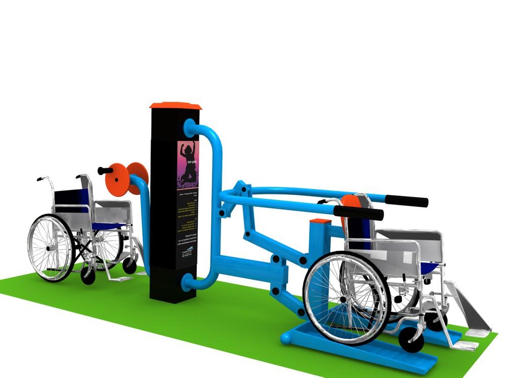 Posilovací stroj pro handicapované 03 Venkovní posilovací stroj pro vozíčkáře