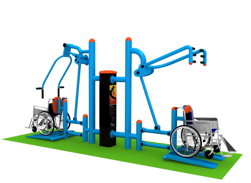 Venkovní posilovací stroj pro zdravotně postižené 01 Stroje pro tělesné postižené